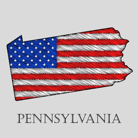 pennsylvania: State Pennsylvania in scribble style - vector illustration. Abstract flat map of Pennsylvania with the imposition of US flag. Illustration