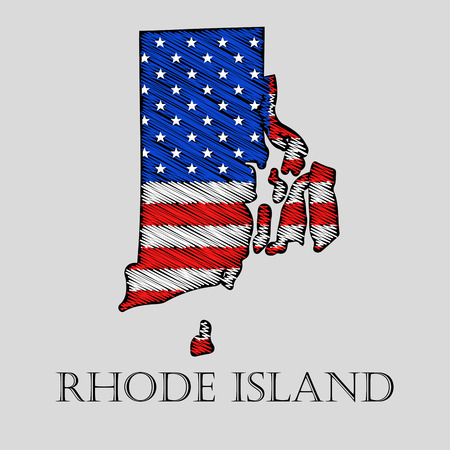imposition: State Rhode Island in scribble style - vector illustration. Abstract flat map of Rhode Island with the imposition of US flag.