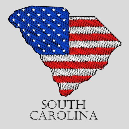 imposition: State South Carolina in scribble style - vector illustration. Abstract flat map of South Carolina with the imposition of US flag. Illustration