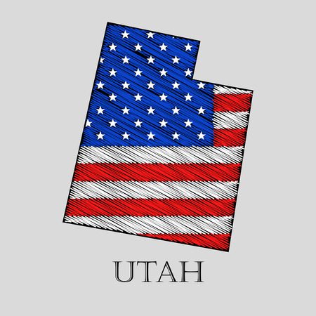 imposition: State Utah in scribble style - vector illustration. Abstract flat map of Utah with the imposition of US flag.