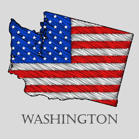 wisconsin flag: State Wisconsin in scribble style - vector illustration. Abstract flat map of Wisconsin with the imposition of US flag.