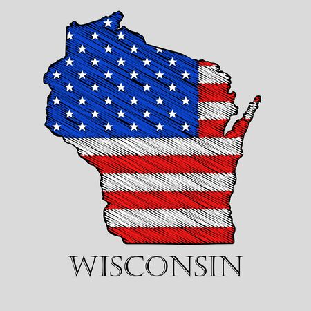 state wisconsin: State Wisconsin in scribble style - vector illustration. Abstract flat map of Wisconsin with the imposition of US flag.