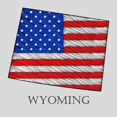 imposition: State Wyoming in scribble style - vector illustration. Abstract flat map of Wyoming with the imposition of US flag. Illustration