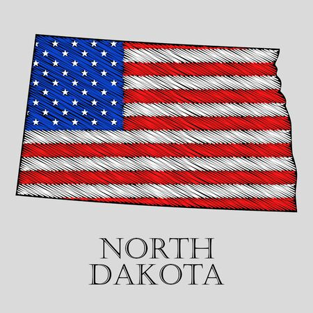 north dakota: State North Dakota in scribble style - vector illustration. Abstract flat map of North Dakota with the imposition of US flag.