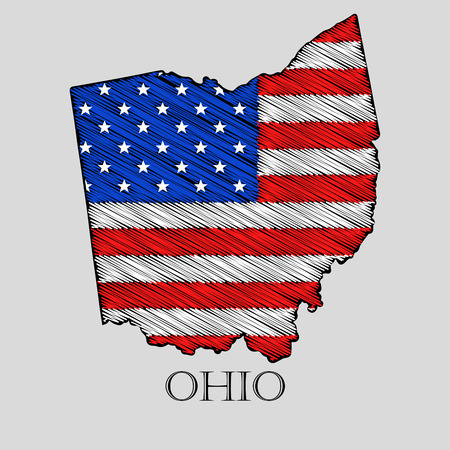 imposition: State Ohio in scribble style - vector illustration. Abstract flat map of Ohio with the imposition of US flag. Illustration