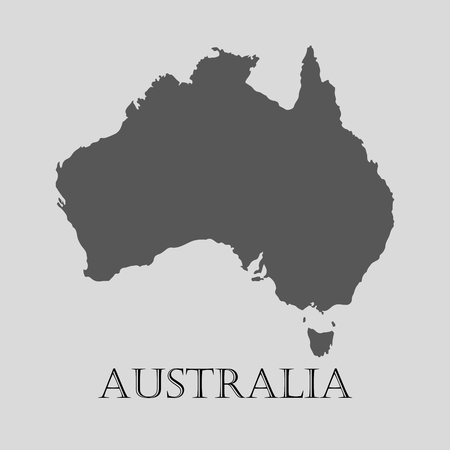 Black Australia map on light grey background. Black Australia map - vector illustration.