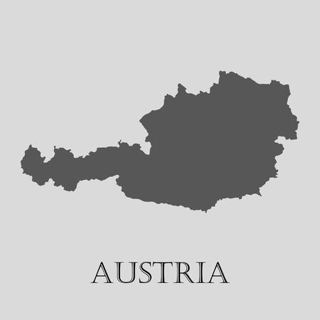 austria map: Black Austria map on light grey background. Black Austria map - vector illustration.