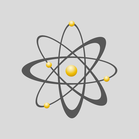 atomic energy: Atom icon - vector illustration. Flat sign of atomic energy.
