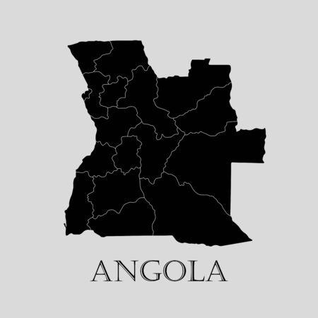 angola: Black Angola map on light grey background. Black Angola map - vector illustration.