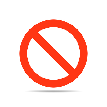 restrictive: Not allowed sign - vector illustration. Stop sign in red color on a white background.