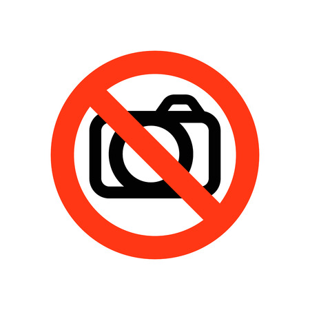 restrictive: Sign prohibiting photographing - vector illustration. No photography allowed sign.