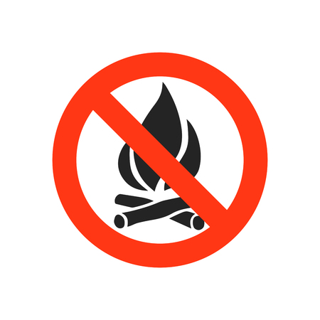 not open: Sign not fire. Prohibition open flame symbol. No bonfire sign. Stop fire. No camp-fire sign. Dangerous fire. Stock vector illustration