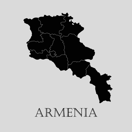 map of armenia: Black Armenia map on light grey background. Black Armenia map - vector illustration.