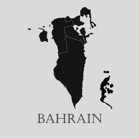 bahrain: Black Bahrain map on light grey background. Black Bahrain map - vector illustration.