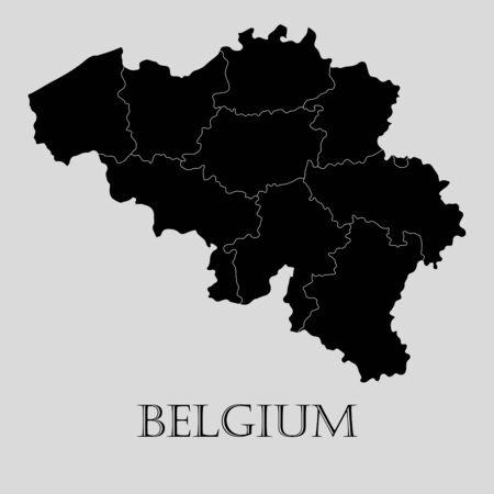 detailed: Black Belgium map on light grey background. Black Belgium map - vector illustration.