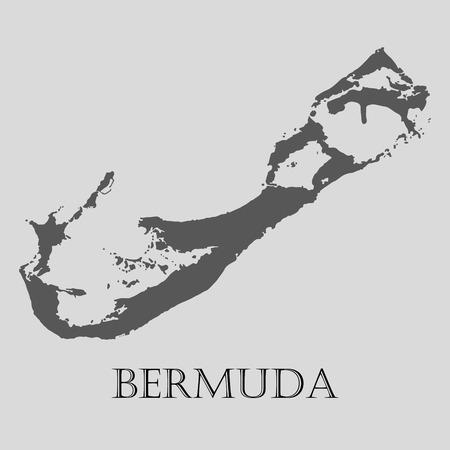 Black Bermuda map on light grey background. Black Bermuda map - vector illustration.