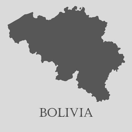 mapa de bolivia: Black Bolivia map on light grey background. Black Bolivia map - vector illustration.