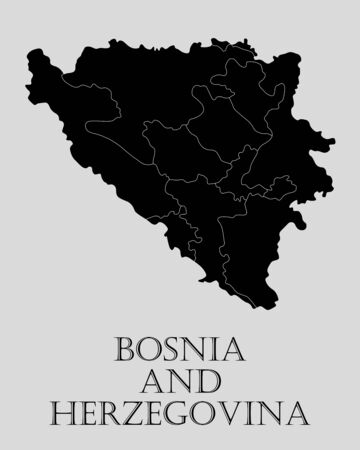 bosnia: Black Bosnia and Herzegovina map on light grey background. Black Bosnia and Herzegovina map - vector illustration.