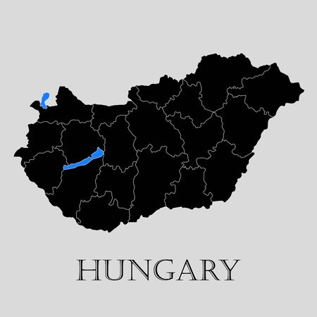 Black Hungary map on light grey background. Black Hungary map - vector illustration. Vectores
