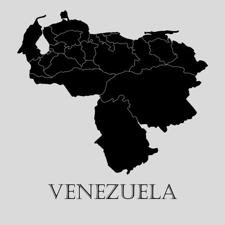 mapa de venezuela: Negro Venezuela mapa sobre fondo gris claro. Mapa negro Venezuela - ilustración vectorial.