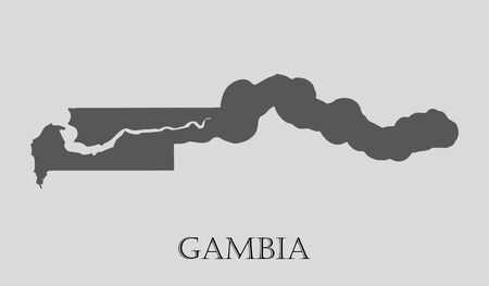 gambia: Black Gambia map on light grey background. Black Gambia map - vector illustration. Illustration