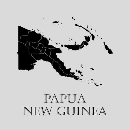 guinea: Black Papua - New Guinea map on light grey background. Black Papua - New Guinea map - vector illustration. Illustration