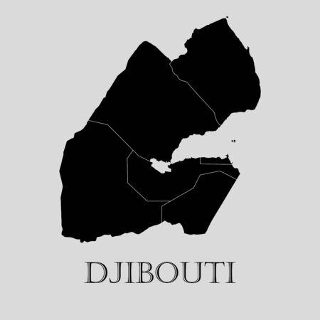 djibouti: Black Djibouti map on light grey background. Black Djibouti map - vector illustration. Illustration