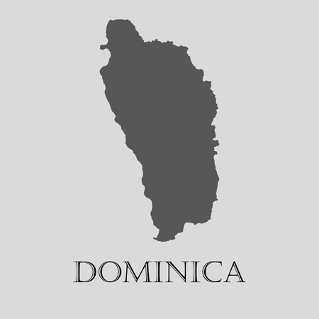 dominica: Black Dominica map on light grey background. Black Dominica map - vector illustration.