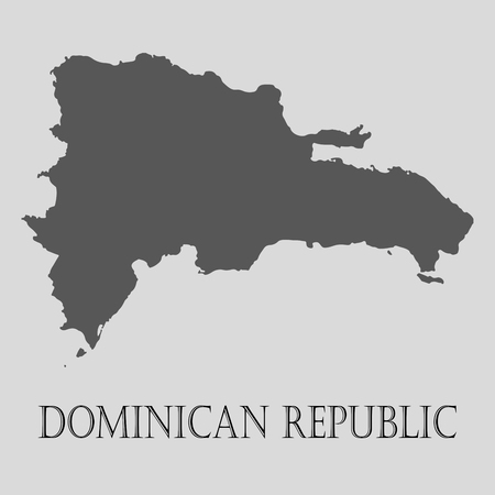 dominican republic: Black Dominican republic map on light grey background. Black Dominican republic map - vector illustration.