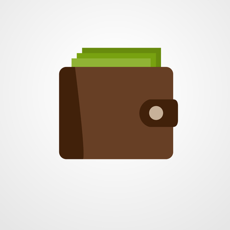 money wallet: Wallet with green dollars. Flat style money wallet - vector illustration.