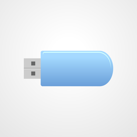 memory drive: USB Memory Sticks - flash drive. Blue universal flash drive isolated on the white background. USB flash drive - vector illustration.