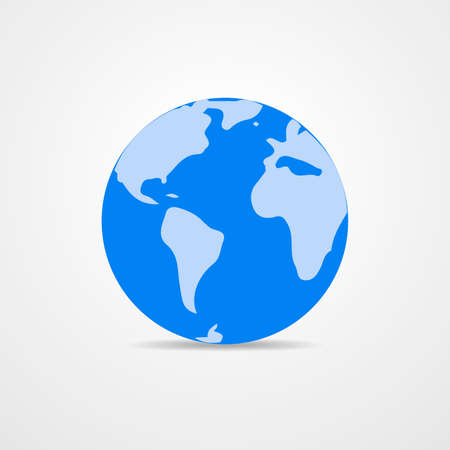 globe illustration: Blue vector Earth globe isolated on white. Light - blue simple scheme of the globe. Globe earth Icon - vector illustration.