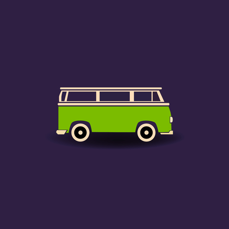 hauling: Green car icon - vector illustration. Simple car symbol in flat design.