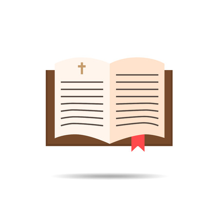 hoping: Bible religion book icon - vector illustration. Education concepts in flat style. Book icon with small cross.