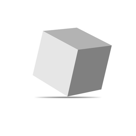white cube: Vector white cube isolated on white background. Simple cube - vector illustration. Illustration