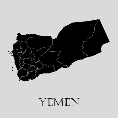 yemen: Black Yemen map on light grey background. Black Yemen map - vector illustration.
