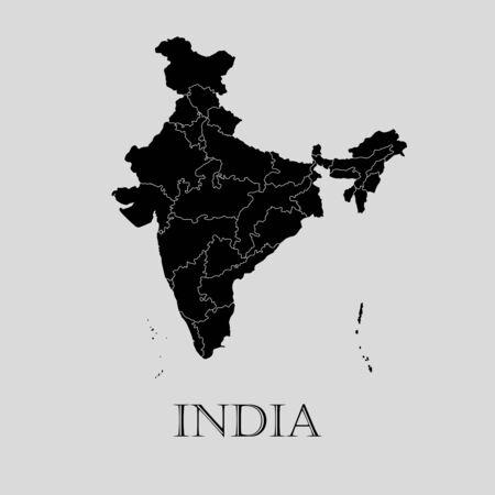 Carte de l'Inde noire sur fond gris clair. Carte de l'Inde noire - illustration vectorielle.