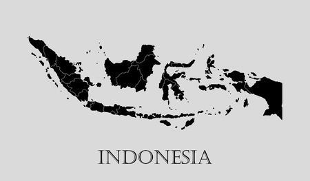 Black Indonesia map on light grey background. Black Indonesia map - vector illustration.  イラスト・ベクター素材