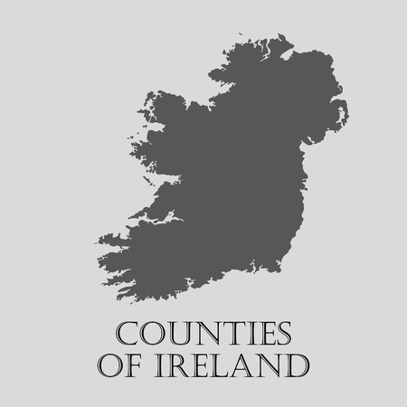 ireland map: Gray Counties of Ireland map on light grey background. Gray Counties of Ireland map - vector illustration.