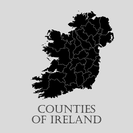 boundary: Black Counties of Ireland map on light grey background. Black Counties of Ireland map - vector illustration.