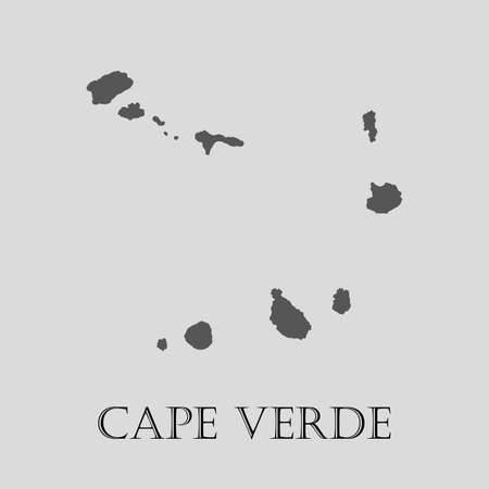 an        verde: Gray Cape Verde map on light grey background. Gray Cape Verde map - vector illustration.