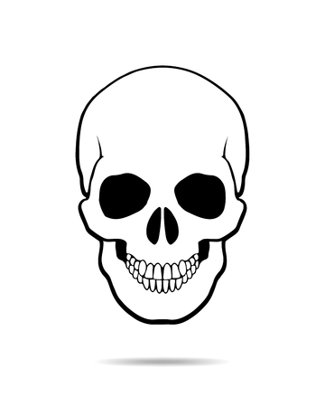 Black skull Icon on White Background. Skull - vector illustration.