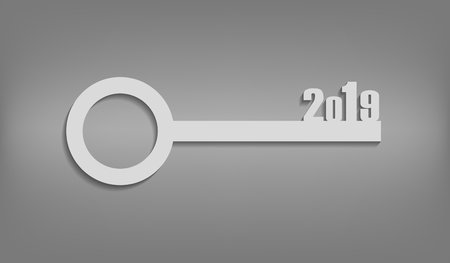 new beginning: Illustration-white key with numbers on New Year 2019. Concept of the beginning year.