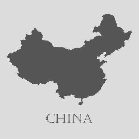 Eenvoudige grijze China kaart op lichtgrijze achtergrond. Gray China map - vector illustratie.