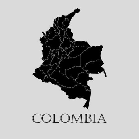Carte de la Colombie noire sur fond gris clair. Carte de la Colombie noire - illustration vectorielle.