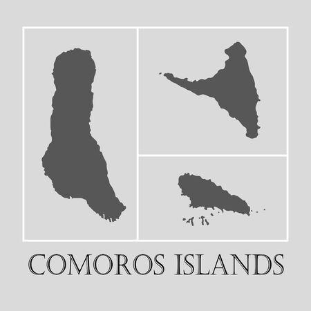 comoros: Simple gray Comoros islands map on light grey background. Gray Comoros islands map - vector illustration. Illustration
