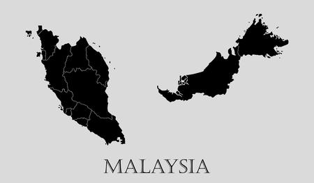 Negro Malasia mapa sobre fondo gris claro. Negro Malasia mapa - ilustración vectorial.