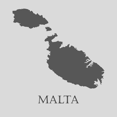 malta map: Gray Malta map on light grey background. Gray Malta map - vector illustration.