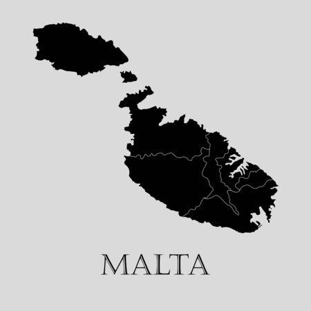 malta map: Black Malta map on light grey background. Black Malta map - vector illustration. Illustration