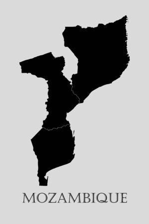 mozambique: Black Mozambique map on light grey background. Black Mozambique map - vector illustration.